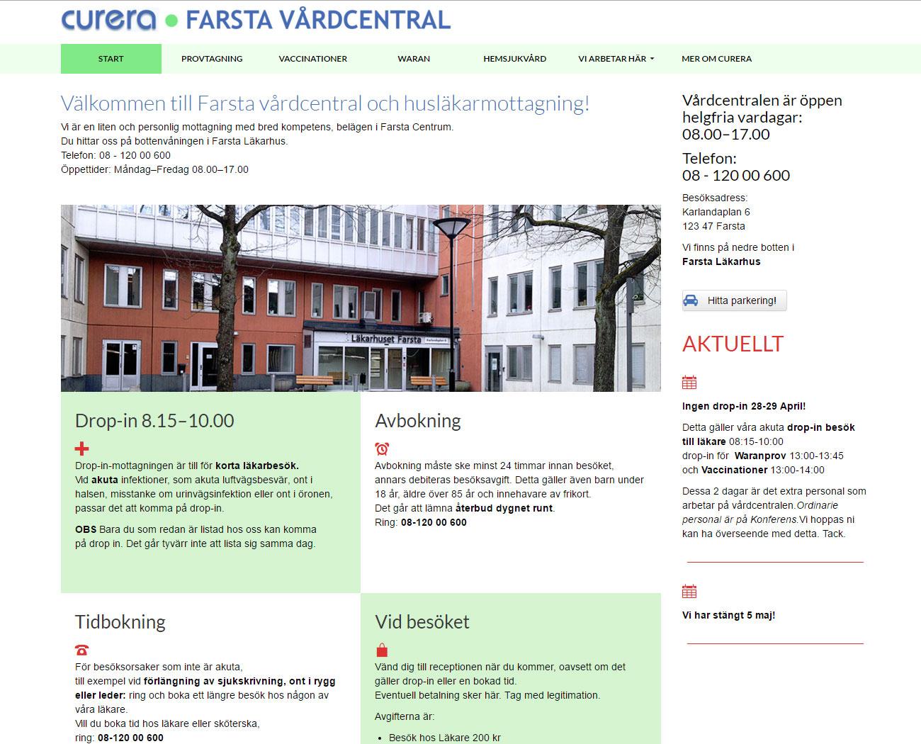 Startsida Farsta Vårdcentral.se hemsidesdesign av webbduon